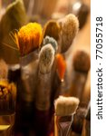 Closeup of painting brushes - stock photo