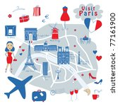 map of Paris's sights - stock vector