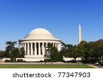 The Jefferson Memorial and Washington Monument in Washington, DC. - stock photo