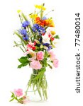 Wild flowers bouquet in vase - stock photo