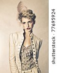 blond young fashion model styled as Marie Antoinette. Hair, makeup, styling and retouching by professionals. - stock photo