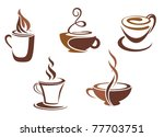 Coffee and tea symbols and icons for food design or logo template - stock vector