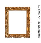 Ornamented, very old, gold plated empty picture frame for putting your pictures in - stock photo