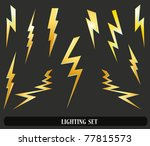lightning set isolated on black. Vector illustration - stock vector