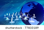 Virtual social network community - stock photo