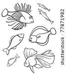 Fishes a set of vector illustration, symbols. Set of fishes on a white background. Sign. Emblem. - stock vector