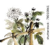 Chinese chrysanthemum garden ink painting on white background. - stock photo