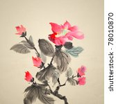 Chinese traditional ink painting of red flowers on art paper. - stock photo