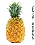 fresh pineapple closeup - stock photo