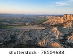 Eroded desert near Pamplona,Spain - stock photo