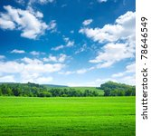 green wide field with trees on horizon and blue sky above - stock photo