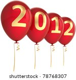 New 2012 Year balloons party decoration. This is a detailed CG image 3d render. Isolated on white background - stock photo
