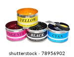 Four Basic Color Of Offset Printing Ink - stock photo