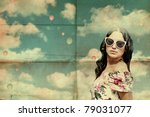 beauty young woman on sky, air balls, vintage collage - stock photo