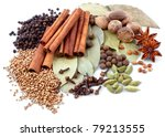 various spices isolated over white background - stock photo