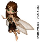 Cute toon fairy in a brown and gold flower dress with gossamer wings, 3d digitally rendered illustration - stock photo