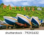 speedboats at pattaya city - stock photo