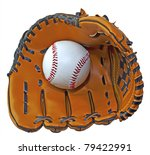 A baseball inside a baseball glove over white background - stock photo