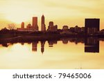Indianapolis at sunrise - downtown seen across the river - stock photo