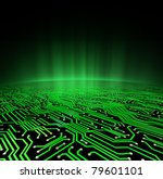 Landscape made of a printed circuit board with a glowing green horizon - stock photo