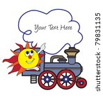 Sun and train vector illustration - stock vector