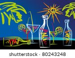 abstract drawing tropical cocktails on the beach, the vector - stock vector