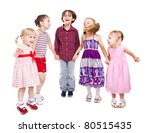 Five little kids playing together. Isolated on white - stock photo
