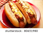 Perfect for the big game,  picnic, party or anytime, chili cheese dogs! - stock photo