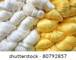 Hand made raw silk thread - stock photo