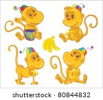 vector illustration- four little funny monkeys with bananas. Play on the dram, eat banana, seat and walk - stock vector