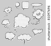pop-art style speak clouds ink graphic set - stock vector