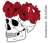 vector illustration of the skull and poppies in red, black and white colors - stock vector
