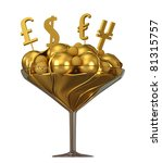 Currency symbols and golden ice cream in glass bowl isolated over white - stock photo