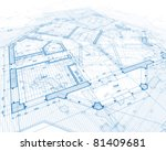 house plan blueprint - stock photo