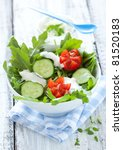 fresh salad with cucumber and tomato - stock photo