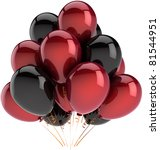 Party balloons black red Happy birthday decoration multicolor. Anniversary graduation retirement occasion greeting card concept Fun happy joy abstract. Detailed 3d render. Isolated on white background - stock photo