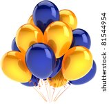 Happy birthday balloons party decoration multicolor bunch yellow blue. Anniversary occasion celebration jubilee ceremony occasion greeting card concept. Detailed 3d render isolated on white background - stock photo
