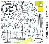 back to school doodles (laboratory, pen, pencils, lettering etc. symbols) - stock vector