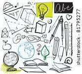 back to school doodles (math, geometry, geography etc. symbols) - stock vector
