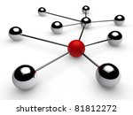 3d, red, chrome, ball, network, communication, white - stock photo