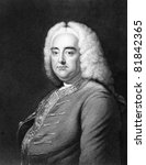 Handel (1685-1759). Engraved by J.Thomson and published in The Gallery Of Portraits With Memoirs encyclopedia, United Kingdom, 1833. - stock photo