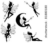 Cute fairies silhouettes - stock vector