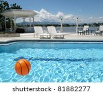 Angle view of a swimming pool on the hotel - stock photo