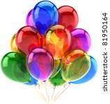 Balloons party happy birthday decoration multicolored translucent. Joy fun abstract. Holiday anniversary retirement celebration greeting card concept. Detailed 3d render. Isolated on white background - stock photo