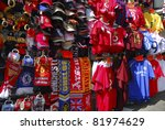 OXFORD STREET, LONDON, ENGLAND-JULY 16:Soccer souvenir on sale at Oxford St. in London on July 16, 2006. Replica jerseys is worth in excess of 200 million pounds in the Barclays Premier League soccer. - stock photo