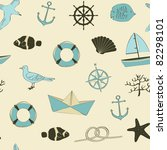 Cute nautical seamless - stock vector