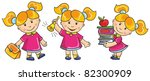 vector illustration-schoolgirl go to  school, hold a lot of books, ring in the golden bell, on white background - stock vector