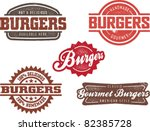 Vintage Style Burger Stamps - stock vector