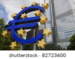 A Euro symbol is displayed in Frankfurt, Germany, headquarters of the European Central Bank. - stock photo