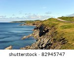 The rugged coast of the world famous Cabot Trail in Cape Breton, Nova Scotia, Canada - stock photo